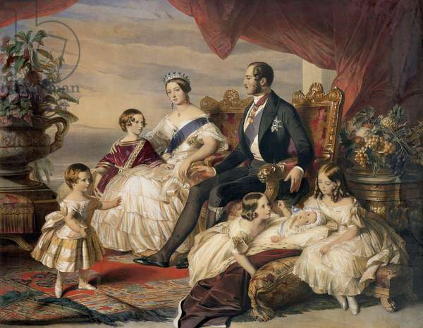 Queen Victoria (1819-1901) and Prince Albert (1819-61) with Five of the Their Children, 1846 (colour engraving)
