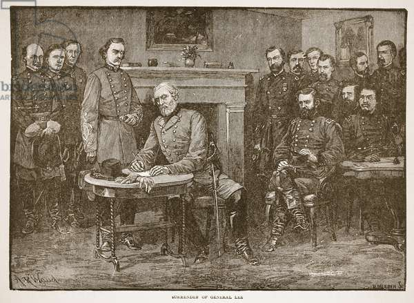Surrender of General Lee, from a book pub. 1896 (engraving)