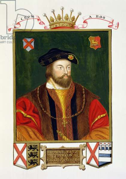 Portrait of Thomas Fitzgerald (1513-37) Lord Offaly 10th Earl of Kildare from 'Memoirs of the Court of Queen Elizabeth', published in 1825 (w/c and gouache on paper)