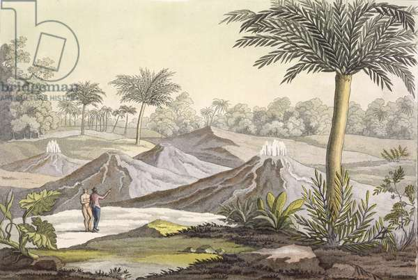 Volcano of Ario di Turbaco near Cartagena, Colombia, from 'Le Costume Ancien et Moderne', Volume I, plate 7, by Jules Ferrario, published c.1820s-30s (colour engraving)