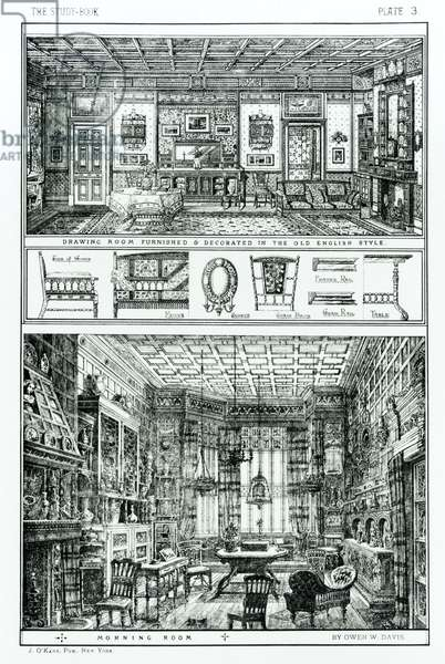 Drawing Room Furnished and Decorated in the Old English Style and Morning Room from The Study Book by Owen Davis, published J.O'Kane, USA