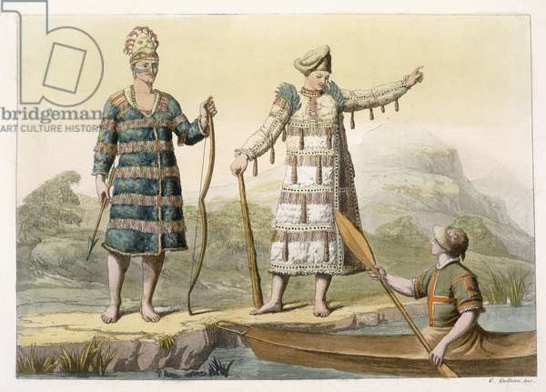 Alaskan man and woman (colour engraving)