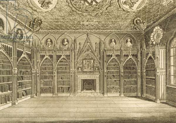 The Library, engraved by Godfrey, from 'Description of Strawberry Hill' by Horace Walpole, 1784 (engraving)