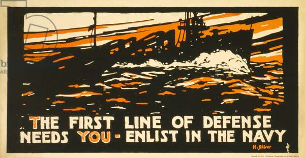 WW1 Recruitment Poster for the US Navy, published 1917 (colour litho)
