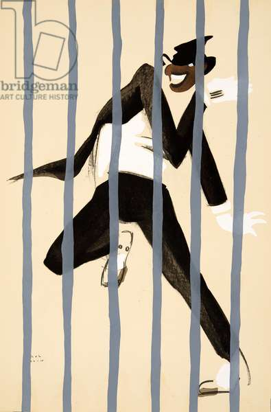 Josephine Baker dressed as a man dancing behind bars from Le Tumulte Noir by Paul Colin, pub. 1929 (pochoir print)