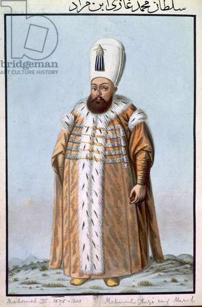 Mahomet (Mehmed) III (1566-1603) Sultan 1595-1603, from 'A Series of Portraits of the Emperors of Turkey', 1808 (w/c)