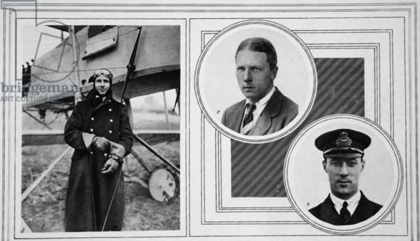 The V.C. Airman who bombed and destroyed a Zeppelin, and the Airmen who bombed the Evere shed, from 'The Illustrated War News', 16th June 1915 (b/w photo)