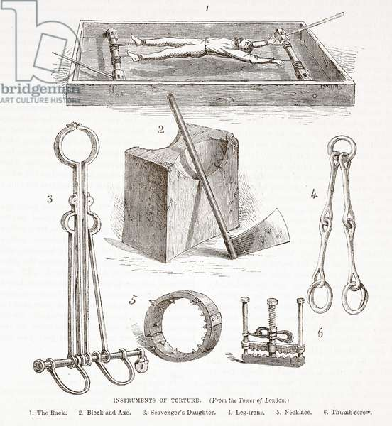 Instruments of Torture (from the Tower of London), illustration from 'The History of Protestantism' by James Aitken Wylie (1808-1890), pub. 1878 (engraving)