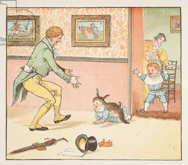Baby Bunting wrapped in the Rabbit Skin, from The Hey Diddle Diddle Picture Book, pub.1882 (colour engraving)