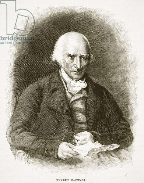 Warren Hastings, illustration from 'Cassell's Illustrated History of England' (engraving) (sepia photo)