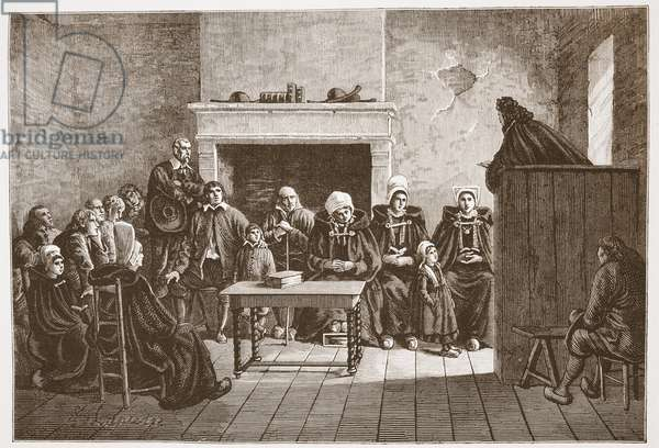 A Protestant Pastor addressing a secret assembly of Huguenots, illustration from 'The History of Protestantism' by James Aitken Wylie (1808-1890), pub. 1878 (engraving)