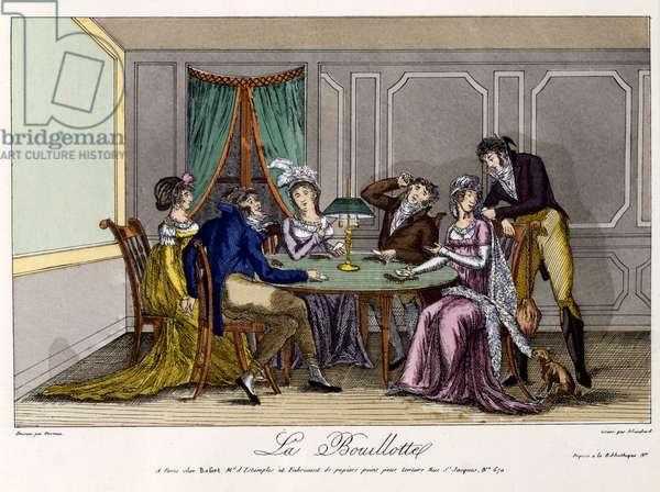 La Bouillotte, c.1810 (hand-coloured engraving)