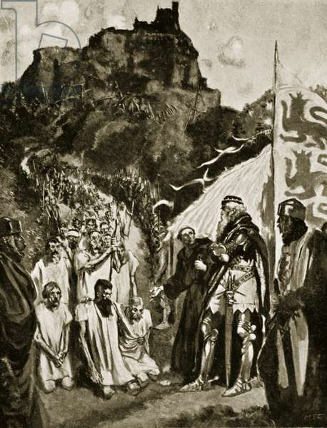 The surrender of Stirling, July 1304, illustration from 'Hutchinson's Story of the British Nation', c.1920 (litho)