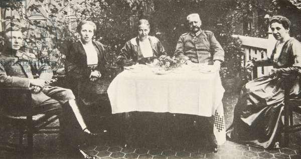 The Hindenburg family at a birthday celebration (b/w photo)