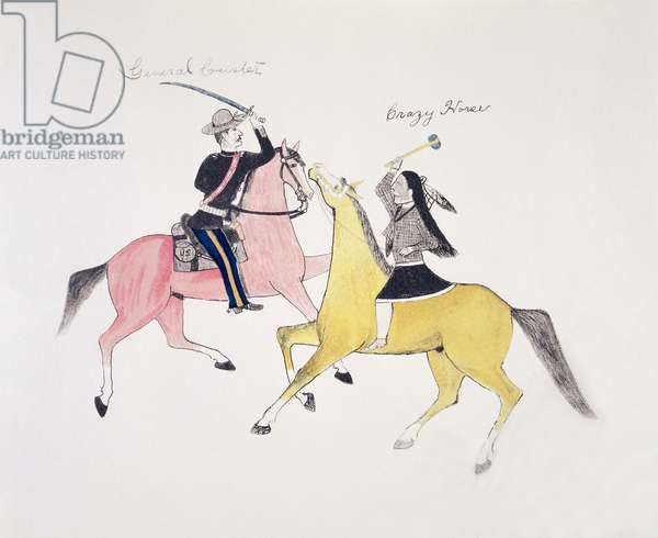 Symbolic portrayal of the conflict between the Indians and the whites as represented by their two most famous leaders, General Custer and Crazy Horse (pigment on canvas)
