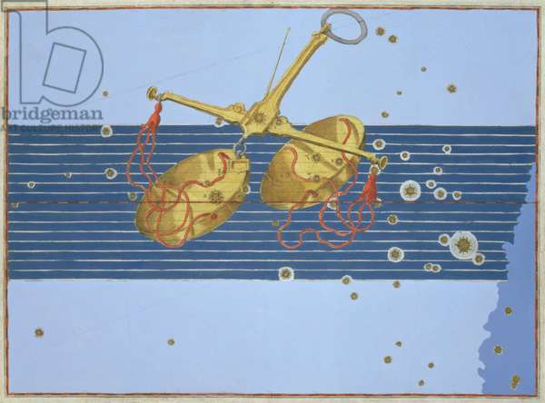 Constellation of Libra, from 'Uranometria' by Johann Bayer, engraved by Alexander Mair (1559-c.1616) 1603 (hand-coloured copper engraving)