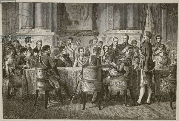 The Congress of Vienna, illustration from 'Cassell's Illustrated History of England' (engraving) (sepia photo)