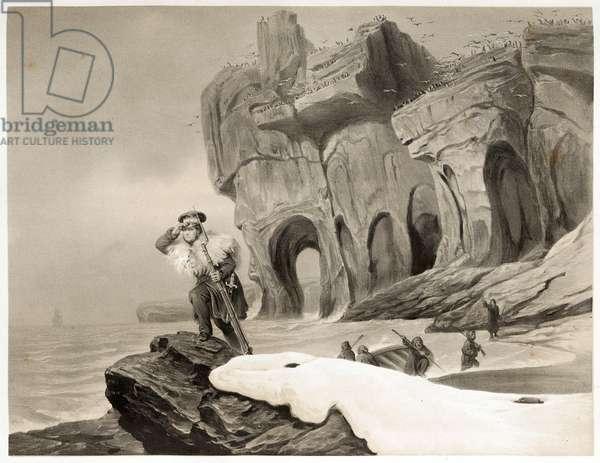 Bear Island from Voyages en Scandinavie, en Laponie, au Spitzberg et aux Feroe, pub. 1852 (engraving)