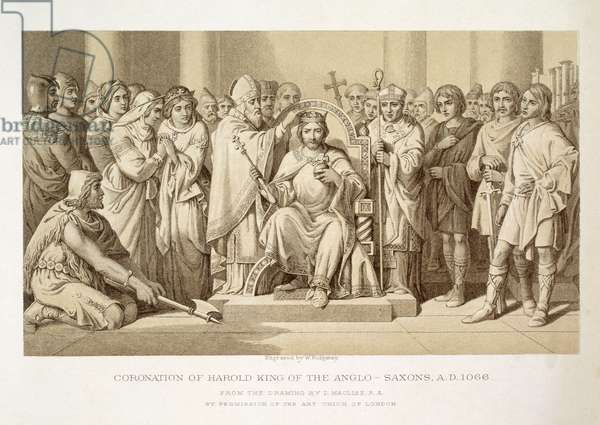 Coronation of Harold, King of the Anglo-Saxons, engraved by W. Ridgeway (engraving)