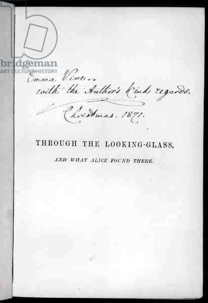 Signed page of 'Alice Through the Looking-Glass' by Lewis Carroll (1833-98) 1871 (litho)
