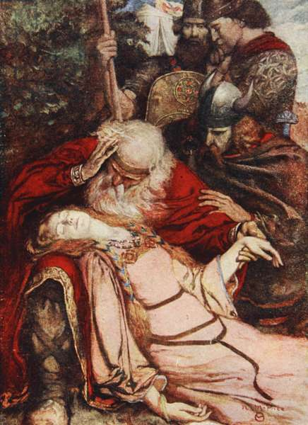 'Cordelia, Cordelia', King Lear, Act V Scene 3, illustration from 'Tales from Shakespeare' by Charles and Mary Lamb, 1905 (colour litho)