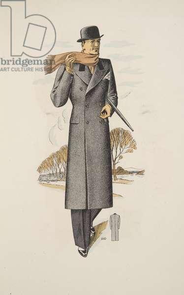 Gentleman's Overcoat, illustation from Mode Officielle, pub. 1936 (colour litho)