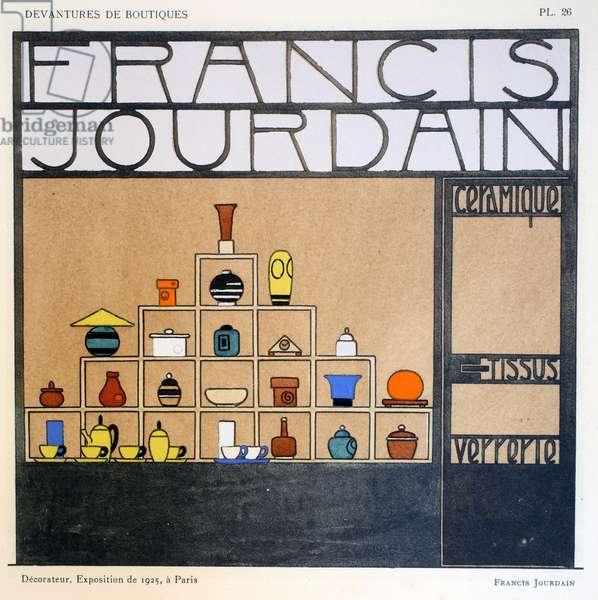 Shop front, plate 26, illustration from 'Devantures de Boutiques' by Louis-Pierre Sezille, Paris, 1927 (colour litho)