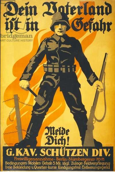 German Recruitment Poster 'Dein Vaterland ist in Gefahr, melde dich!' pub. Berlin c.1914-16 (colour litho)