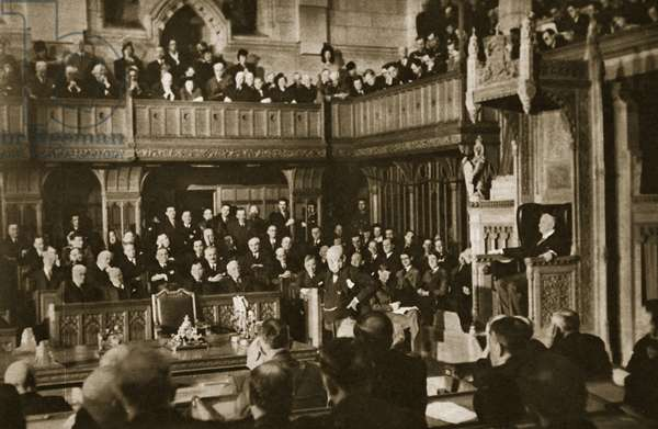 Sir Winston Churchill in Ottowa: the Prime Minister delivering his address from the floor of the Canadian House of Commons, December 30, 1941 (photogravure)