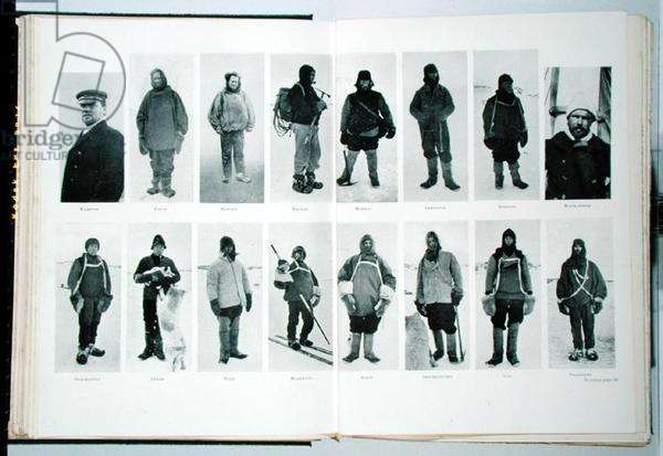 Members of the British Antarctic Expedition at the start of the journey, from 'The Heart of the Antarctic' by Sir Ernest Shackleton (1874-1922) c.1909 (litho)