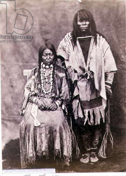 Halispelm or Pend'Oreille Indian Couple, photographed by the Royal Engineers on the Forty-Ninth Parallel (sepia photo)