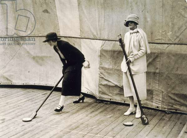 Two lady passengers playing deck games on the boat during the journey to Egypt, 1923 (gelatin silver print)