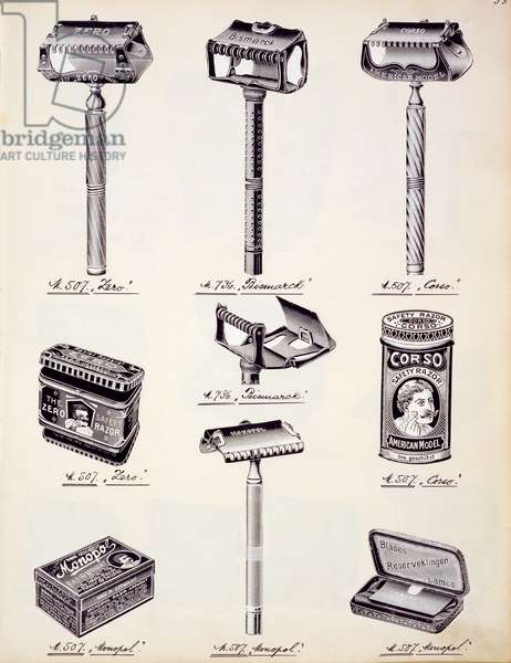 Men's shaving equipment, from a trade catalogue of domestic goods and fittings, c.1890-1910 (colour litho)