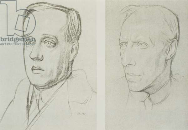 Gustav Holst (1874-1934) (left), 1892, and Cecil Sharp (1859-1924) (right) (litho)