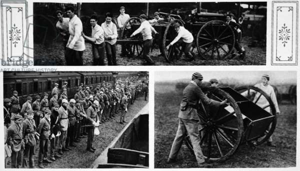 Eton Boys as War-Workers: The King's third son and his Eton schoolfellows helping with Army stores at Didcot, from 'The Illustrated War News' (b/w photo)