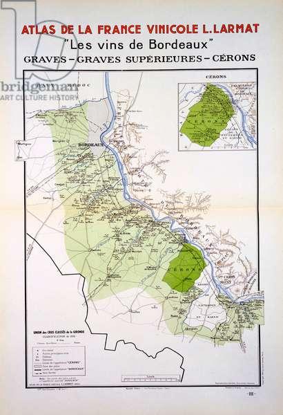 Map of the Graves & Cerons Regions, Bordeaux, illustration from 'Atlas de la France Vinicole' by Louis Larmat, published 1942 (colour litho)