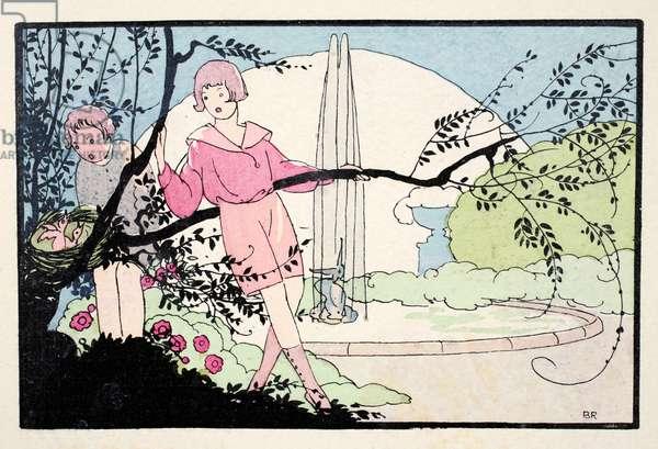 In the Garden (pochoir print)