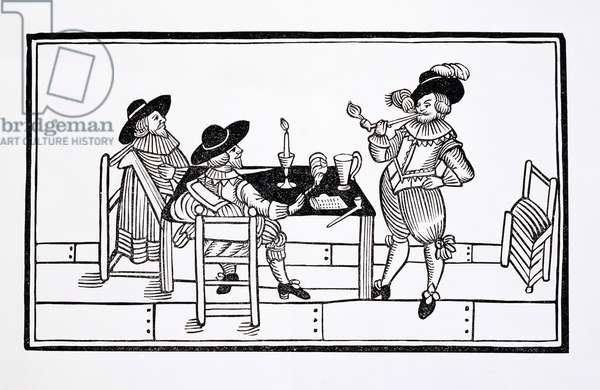 Vintners in a Tudor ale house, from a broadsheet 'Health to All', 1642 (woodcut)