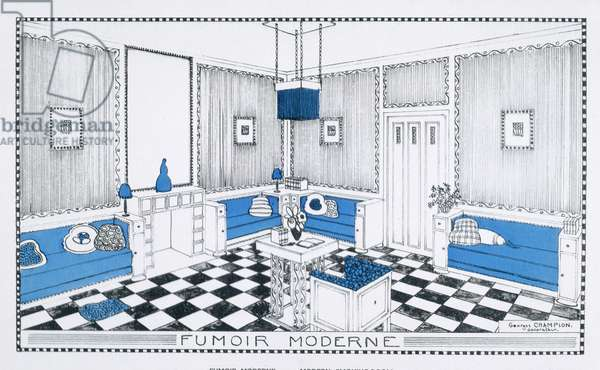 Modern Smoking Room, from 'Suggestions for Modern Interiors', published c.1920s (colour litho)