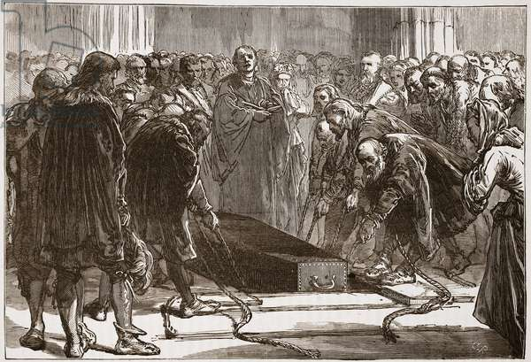 Burial of Luther in the Schloss-Kirk, Wittemberg, illustration from 'The History of Protestantism' by James Aitken Wylie (1808-1890), pub. 1878 (engraving)