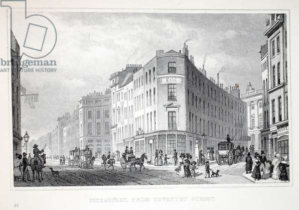 Piccadilly, from Coventry Street, from 'London and it's Environs in the Nineteenth Century' pub. Jones & Co., 1827-1829 (engraving)