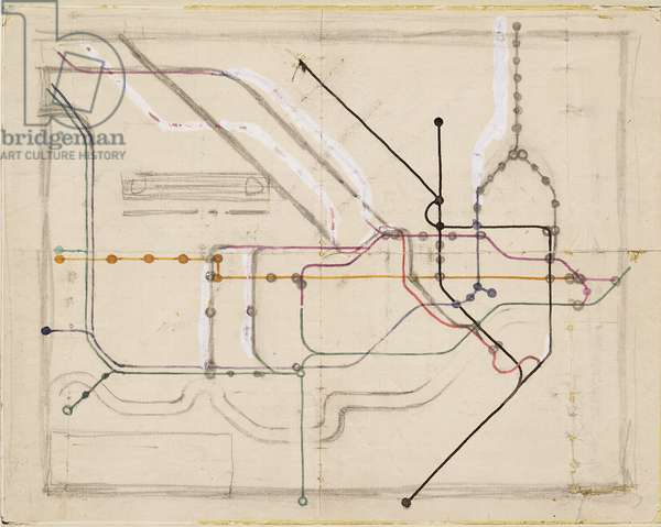 Sketch for the original map of the London Underground, 1933 (pen & coloured ink on paper)