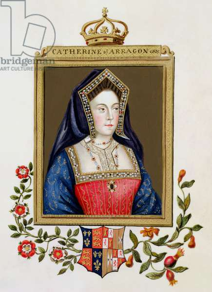 Portrait of Catherine of Aragon (1485-1536) 1st Queen of Henry VIII from 'Memoirs of the Court of Queen Elizabeth', published in 1825 (w/c and gouache on paper)