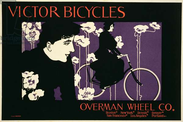 Reproduction of a poster advertising 'Victor Bicycles' (colour litho) (see 130239)