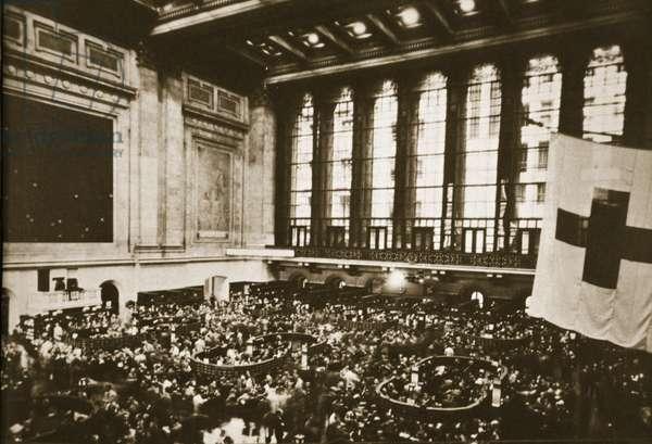 Trading Floor of the New York Stock Exchange, early 1930's (b/w photo)