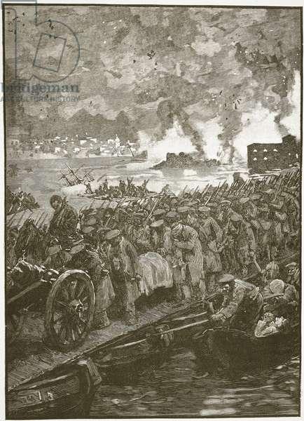 Evacuation of Sebastapol, illustration from 'Cassell's Illustrated History of England' (engraving) (sepia photo)