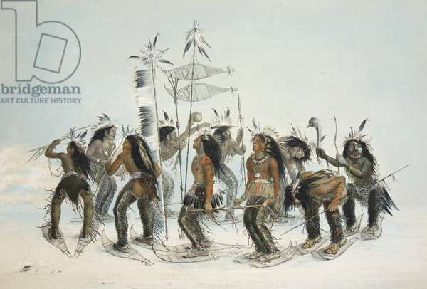 The Snow Shoe Dance,from Catlin's North American Indian Portfolio. Hunting Scenes and Amusements of the Rocky Mountains and Prairies of America, pub. 1845 (colour litho)