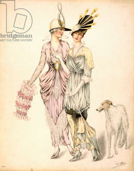 Two dresses for the Goodwood Races, c.1920 (colour litho)