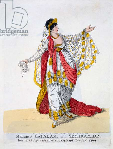 Madame Catalani in the title role of Semiramide, 1806 (colour litho)