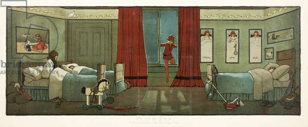 """The Arrival of Peter Pan, from """"Peter Pan"""", pub. 1907 (colour litho)"""